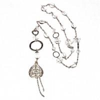 Gold or Silver Long Quartz Necklace #104