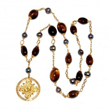 Long Golden Double Dorje and Smokey Quartz Necklace #151