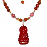 Crimson Stone Kuan Yin Necklace #212