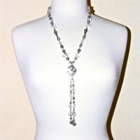 Platinum Pearl and Quartz Om Dangle #255