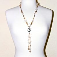 Taupe Pearl and Quartz Om Dangle #256