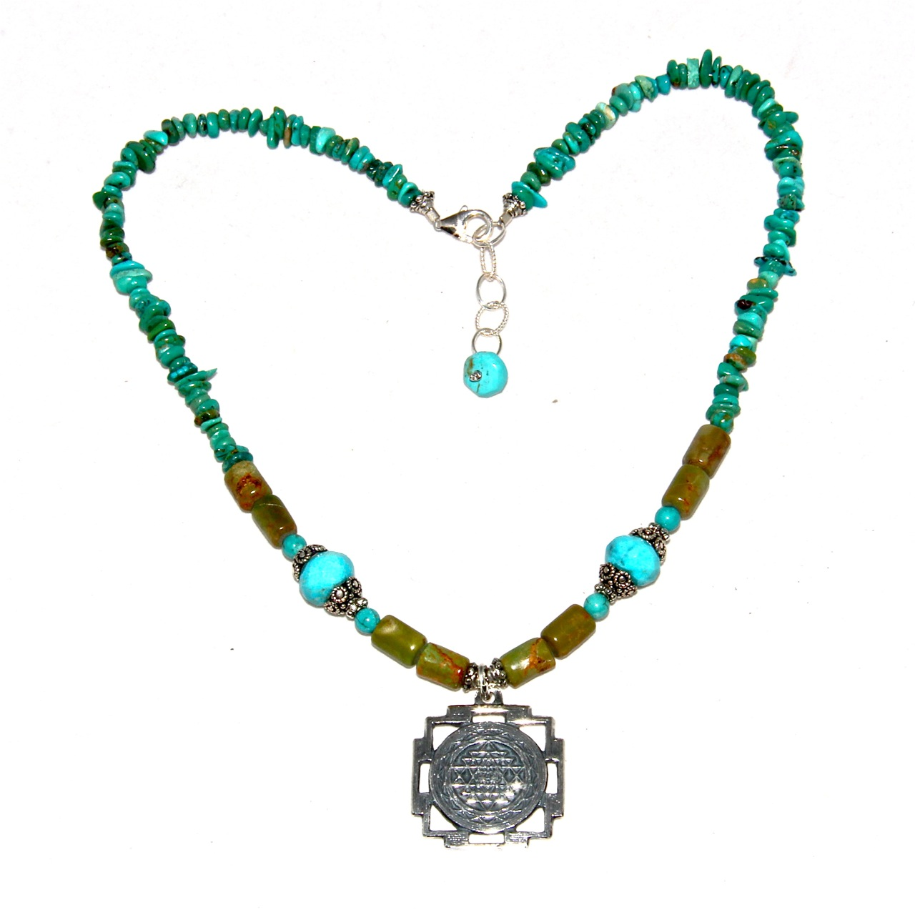turquoise sri yantra necklace honoring the sacred