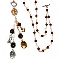 Garnet Love Charm Necklace #357