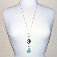 Aqua Chalcedony Om Necklace #344