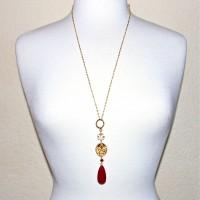 Golden Ruby Om/Ganesh Necklace #346