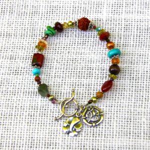 Multi-Stone Om & Ganesh Bracelet