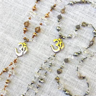 Long Pearl and Quartz Om Dangle Necklaces #255
