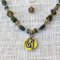 Green Turquoise and Quartz Tibetan Om Necklace #253