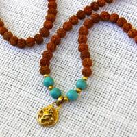 Rudraksha and Turquoise Ganesh 108 Mala #389