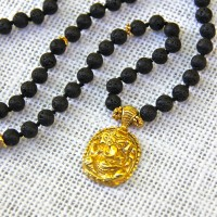 Lava Stone and Ganesh 108 Mala #395