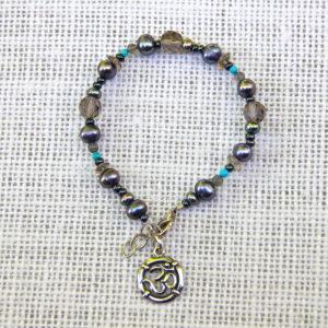 Blue Pearl & Om Bracelet #503