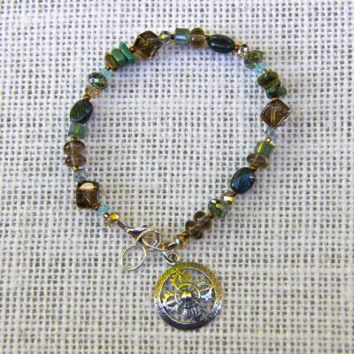 Smokey Quartz and Green Turquoise Bracelet #509
