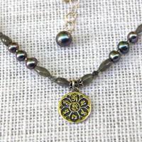Tibetan Mantra & Labradorite Necklace #310
