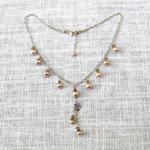 Pink Pearl-Drop Om Necklace #263