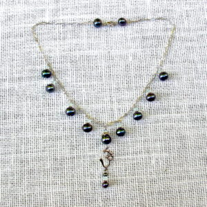 Blue Pearl-Drop Om Necklace #261