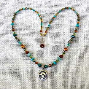 Blue-Green Rudraksha Om Necklace #253