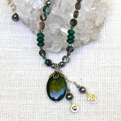 Malachite and Abalone Necklace #126