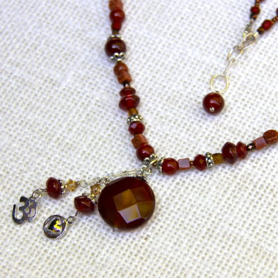 Carnelian Faceted Gemstone Necklace #120