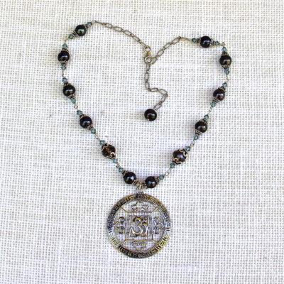 Blue Pearl and Quartz Om Mandala Necklace #250