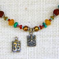 Colorful Rudraksha Om/Ganesh Necklace #285