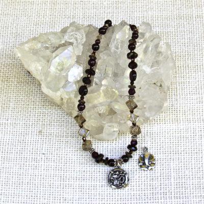Garnet and Smokey Quartz Om/Ganesh Necklace #286