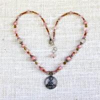 Rose Quartz Kuan Yin Necklace #211