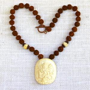 Rudraksha and Bone Carved Goddess Necklace #219