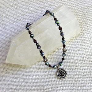 Garnet and Pearl Double Dorje Necklace #164