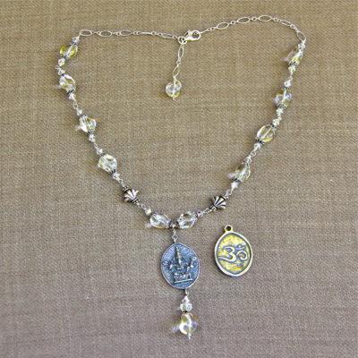 Quartz Wire-Wrapped Om Ganesh Necklace #284