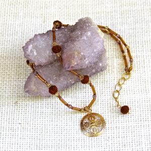 Golden Rudraksha Double Dorje Necklace #158