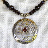 Garnet Double Dorje Mandala Necklace #154