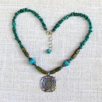 Turquoise Sri Yantra Necklace #312