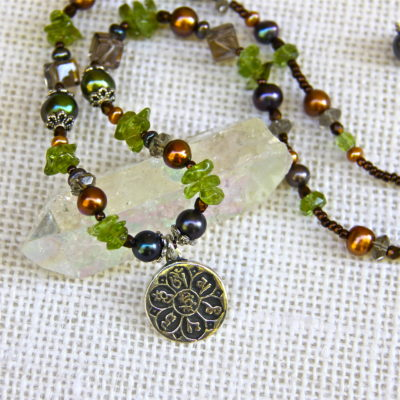 Tibetan Mantra and Peridot Necklace #311