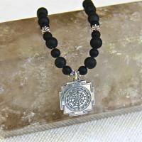 Men's Black Onyx Sri Yantra Necklace #328
