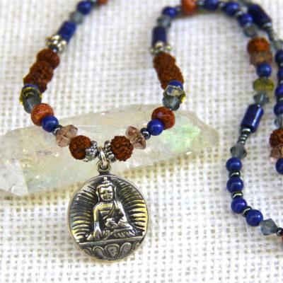 Lapis and Rudraksha Enlightened Buddha Necklace #199