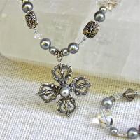 Long Blue Pearl Double Dorje Necklace #153